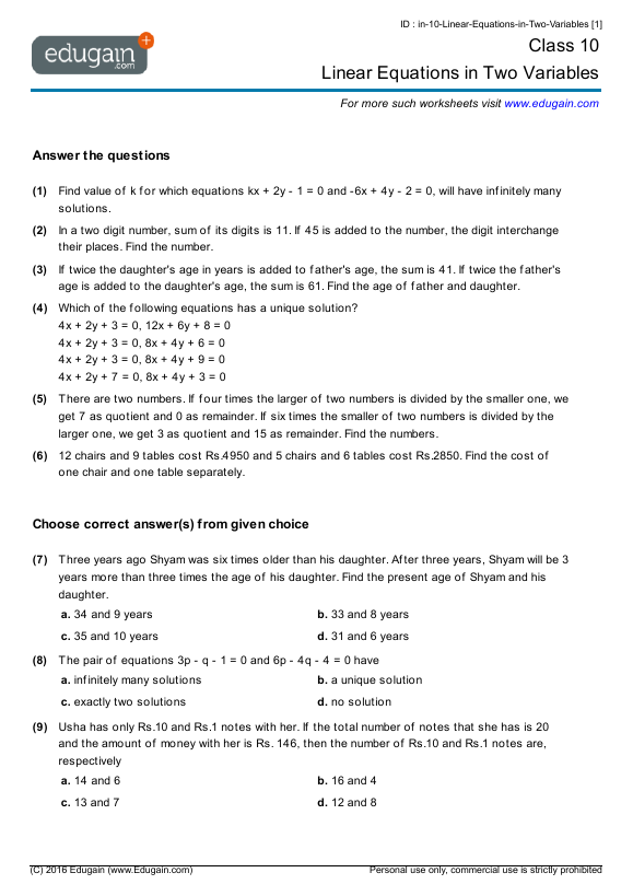Grade 10 Math Worksheets and Problems Linear Equations in Two – Grade 10 Math Worksheets