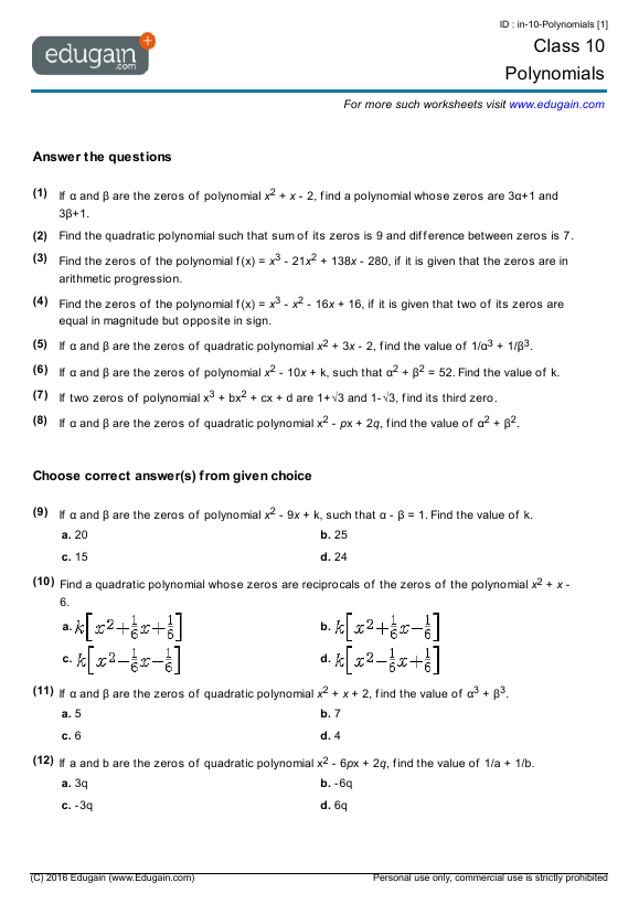 Grade 10 Math Worksheets and Problems Polynomials – 10 Grade Math Worksheets