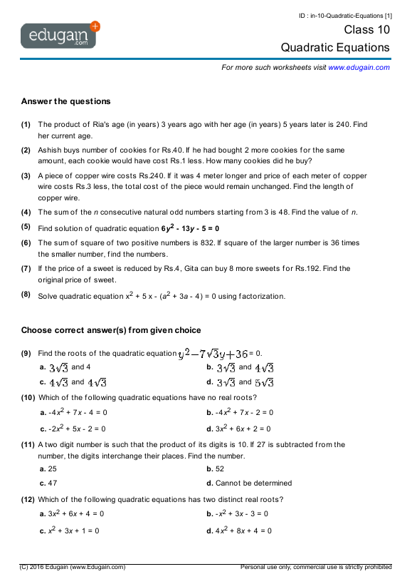 Grade 10 Math Worksheets and Problems Quadratic Equations – Solving Quadratic Functions Worksheet