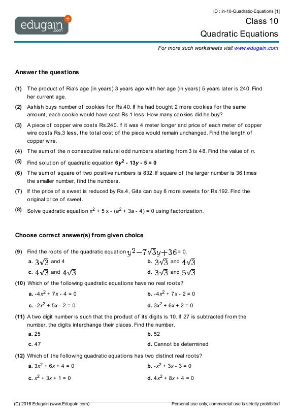math worksheet : grade 10 math worksheets and problems quadratic equations  : Math Worksheets Equations