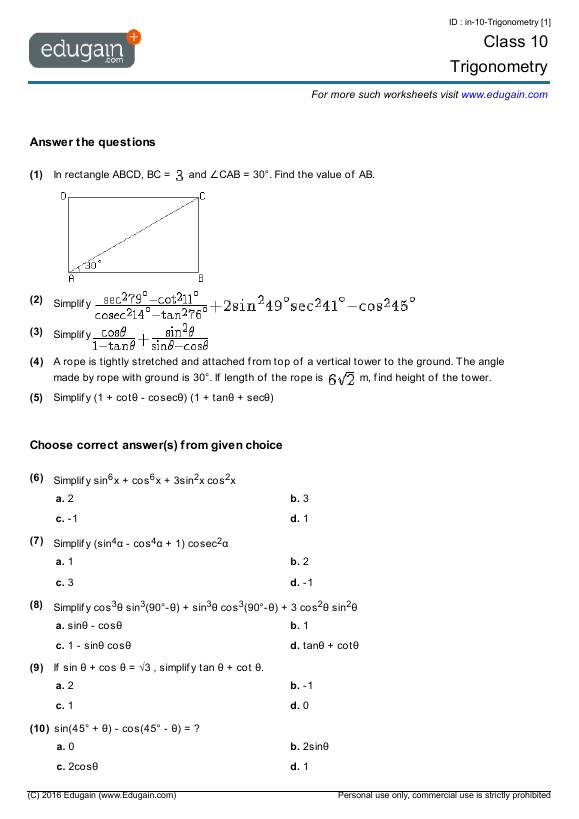 Grade 10 Math Worksheets and Problems Trigonometry – Grade 10 Math Worksheets