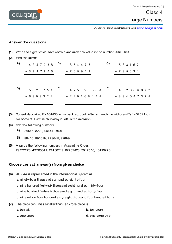math worksheet : grade 4 math worksheets and problems large numbers  edugain uae : Grade 4 Math Worksheets Pdf