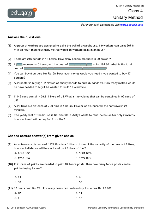 Grade 4 Math Worksheets and Problems Unitary Method – Maths Worksheets for Class 1