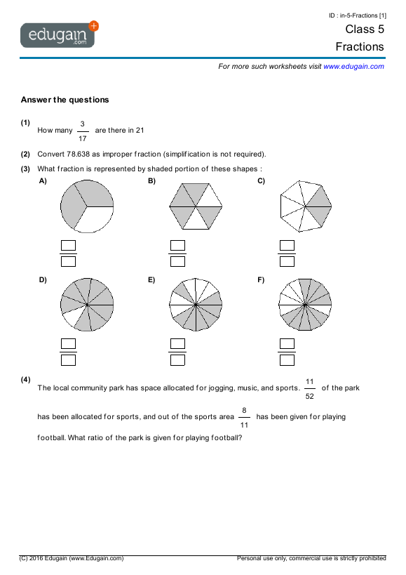 Grade 5 Math Worksheets and Problems Fractions – Math Worksheets for Grade 5 Fractions