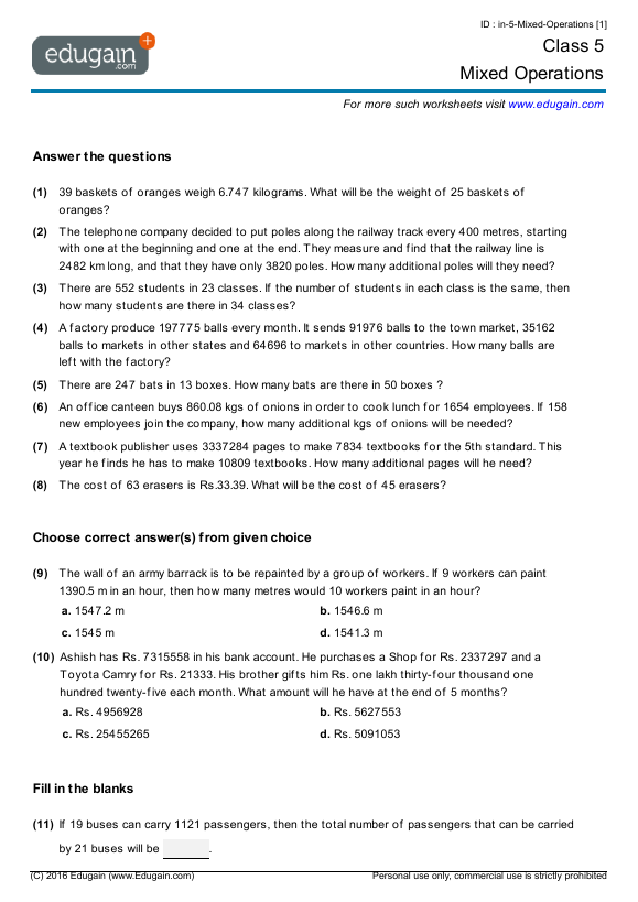 Grade 5 Math Worksheets and Problems Mixed Operations – Compound Interest Word Problems Worksheet