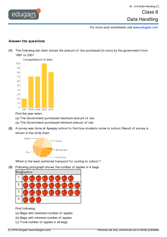 Grade 6 Math Worksheets and Problems: Data Handling ...