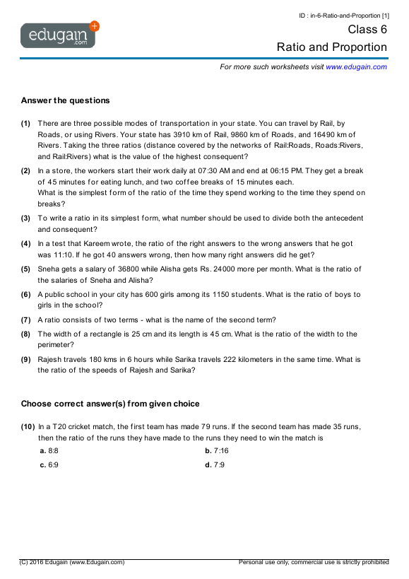 Grade 6 Math Worksheets and Problems Ratio and Proportion – Grade 9 Maths Worksheets