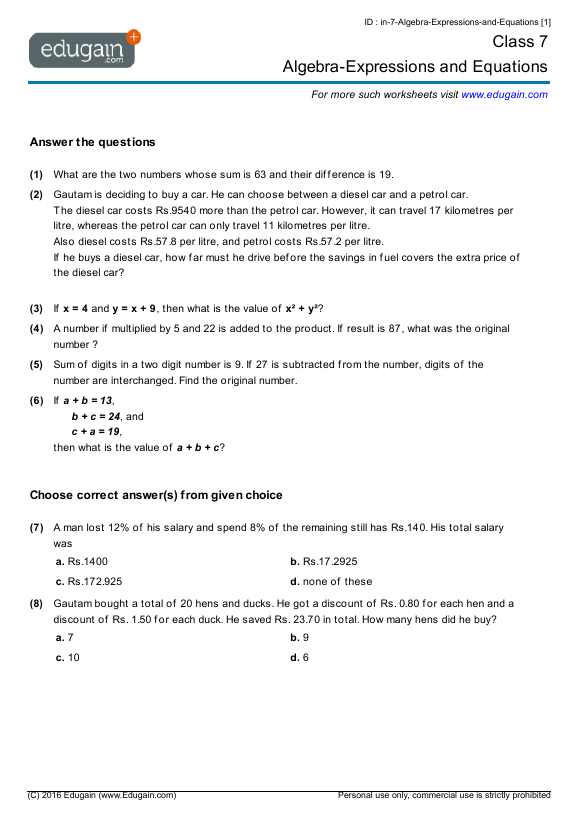 Number Names Worksheets algebra word problems worksheet : Algebraic Equations For 7th Graders - algebra 1 worksheets word ...