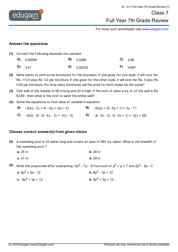 Grade 7 Math Worksheets and Problems Full Year 7th Grade Review – Math Algebra Worksheets Grade 7