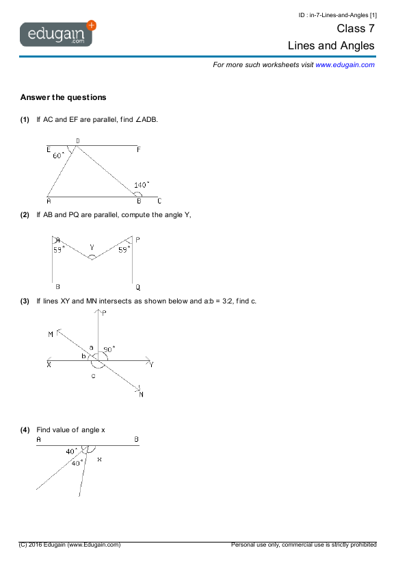 Grade 7 Math Worksheets and Problems Lines and Angles – Grade Seven Math Worksheets