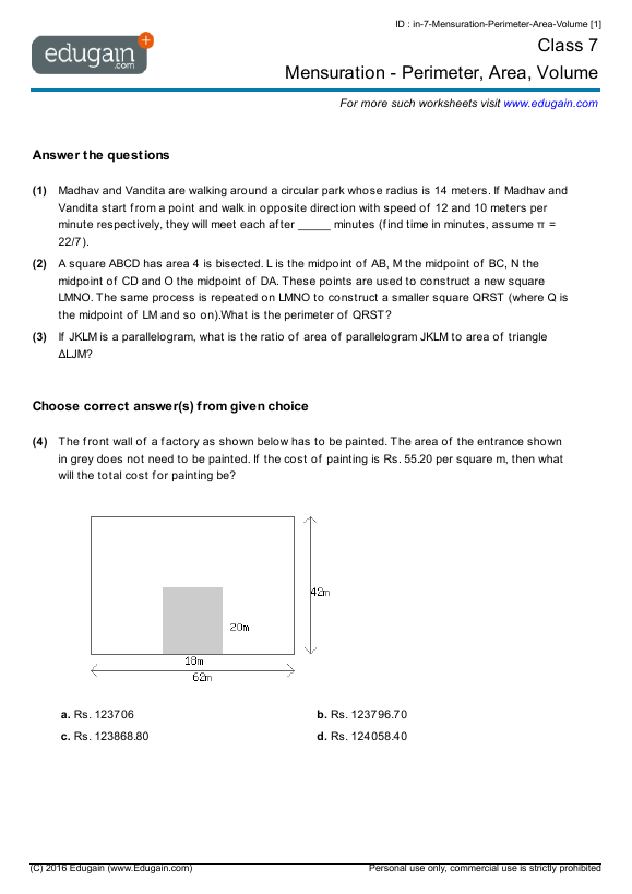 grade 7 math worksheets and problems mensuration perimeter area volume edugain uae. Black Bedroom Furniture Sets. Home Design Ideas
