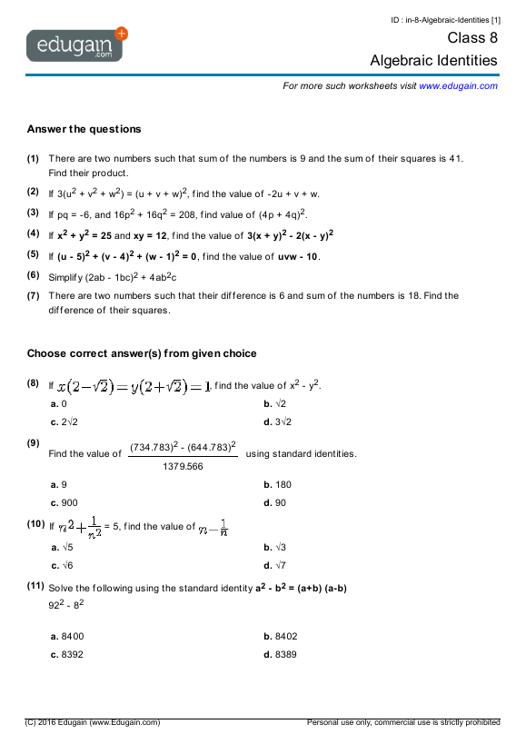Grade 8 Math Worksheets and Problems Algebraic Identities – Grade 8 Math Worksheet