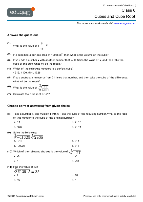 math worksheet : grade 8 math worksheets and problems cubes and cube root  : Printable Grade 8 Math Worksheets