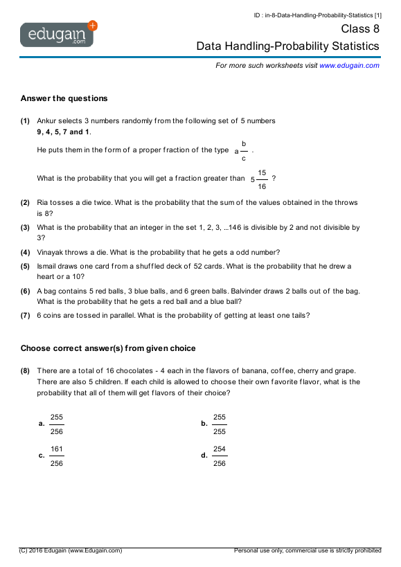 Grade 8 Math Worksheets and Problems Data HandlingProbability – Probability and Statistics Worksheets