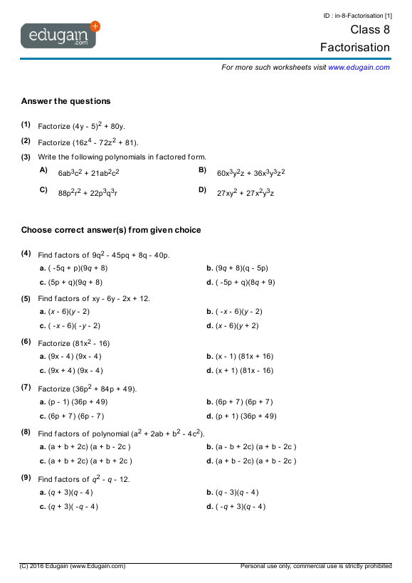 Maths Worksheets For Grade 8 - Boxfirepress