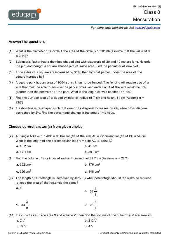 Grade 8 Math Worksheets and Problems Mensuration – Math Worksheets for Grade 9
