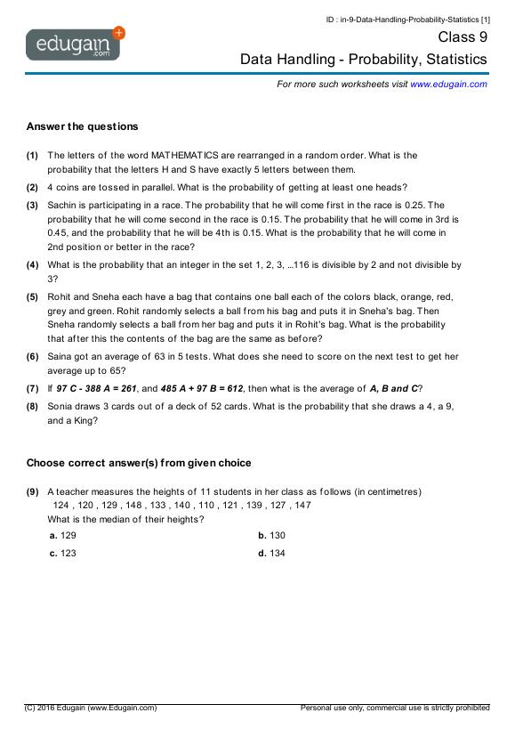 math worksheet : grade 9 math worksheets and problems data handling  probability  : Maths Data Handling Worksheets