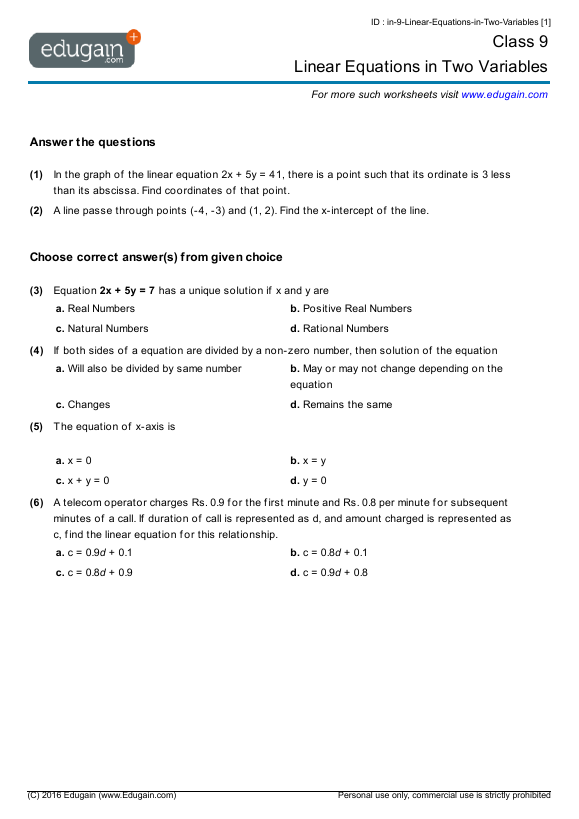 Grade 9 Math Worksheets and Problems Linear Equations in Two – Variable on Both Sides Worksheet