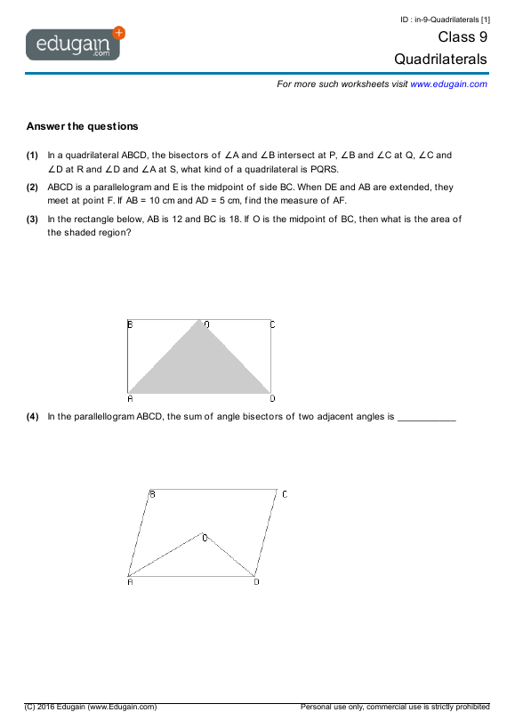 Grade 9 Math Worksheets and Problems Quadrilaterals – Math Problems for 9th Graders Worksheets