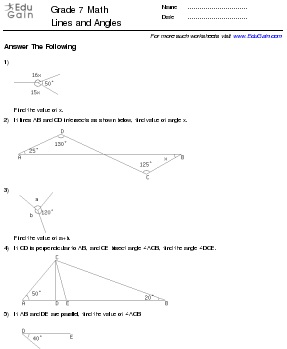 Worksheets On Lines And Angles For Grade 7 - The Best and Most ...